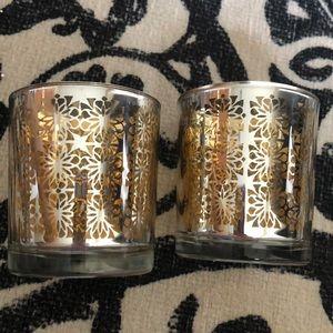 Crate&Barrel Raj Voltive Gold Silver Candle Holder